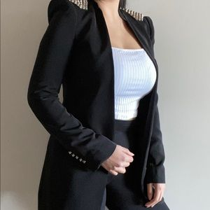 Zara Long Black Blazer with Spikes in Size S